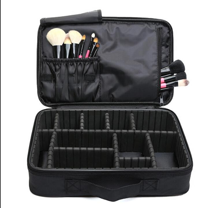 Cosmetic bag large capacity fashion black nice for Makeup brush kits