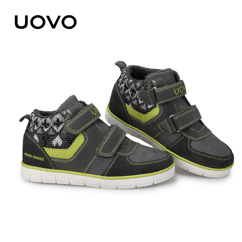 Children Casual Sneakers Uovo Brand Boys Girls Autumn Winter Outdoor Sport Shoes Size 27-35 School Breathable Soft Running Shoes uovo 2016 outdoor nonslip boys shoes kids breathable baby children shoes girls shoes tenis infantil chaussure fille size 26 35