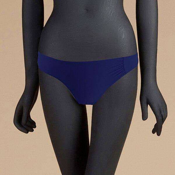 M& M 12 цветов, Раздельный купальник из двух частей, сексуальный купальник с низкой талией, женские одноцветные плавки, бразильские Плавки бикини - Цвет: Синий