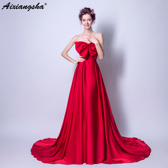 Long Prom Dresses 2018 Red Strapless Simple Prom Dress Elegant Vestido De  Festa Longo Gala Jurken Robe Mariage Satin Dress 4625637faf76
