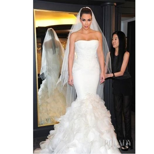 Custom Made Kim Kardashian Mermaid Wedding Dress Corset Bodice Bridal Gown Vestidos De Novia
