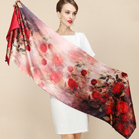 New Luxury Brand Women Street Fashion 100 Genuine Silk Pashmina Scarf Red Style Flower Print Real