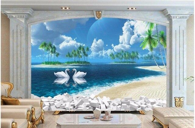 3d Wallpaper Benutzerdefinierte Foto Mural Kokospalme Schwan Meerblick Bild  Zimmer Dekor Malerei 3d Wand Mural Tapete