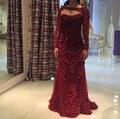 Borgonha Manga Comprida Da Sereia Vestido de Baile Com Frisada Lace Applique Vestido De Festa Formal Vestido de Festa