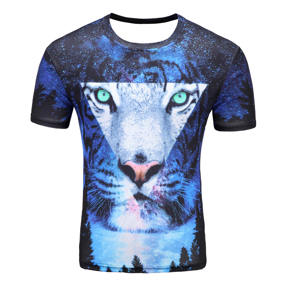 2017 Space Galaxy T-shirt Men/Women Harajuku Hip hop Brand T-shirt 3d Print tiger Summer Tops Tees T shirt wholesale