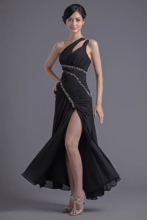 Gorgeous Black One Shoulder Bridesmaid Dresses With Side Slit Sexy