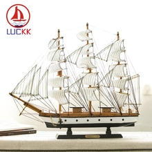 LUCKK 50CM Handmade Retro Mediterranean Wooden Model Ships Home Decor Interior Wood Ornament Carfts Nautical SailBoat Figurine
