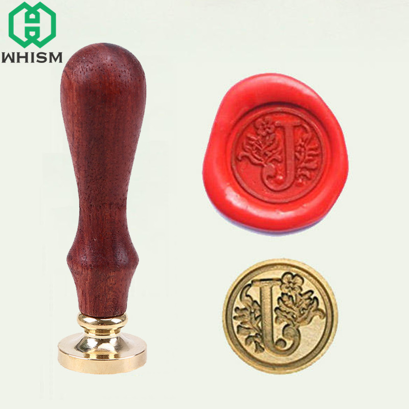 WHISM Sealing Wax Stamp Plant Flower Vine Wax Seal Stamps 26 Alphabet Letter Retro Wood Handle Decorative Scrapbooking Stamps