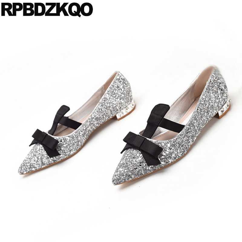 Silver Sparkling Women Flats Mary Jane Glitter Dress Wedding Slip On Pointed  Toe Autumn Spring Bling aa3844e76b19