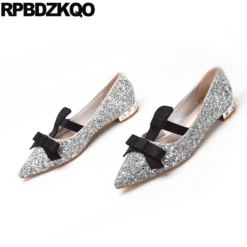 Silver Sparkling Women Flats Mary Jane Glitter Dress Wedding Slip On Pointed Toe Autumn Spring Bling Sequins Single Shoes Bow