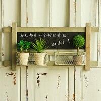 Creative Living Room Balcony Garden Flower Racks Home Furnishing Iron Wooden Blackboard Wall Hanging Wall Decorations