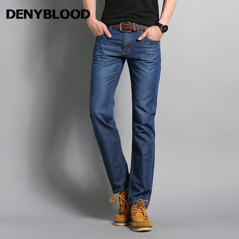 Denyblood Jeans Darked Wash Jeans Mens Blue Black Cotton Denim Straight Fit Classic Stylish Casual Pants Male Trousers 818 mens wash blue jeans thin slim fit straight denim short jeans