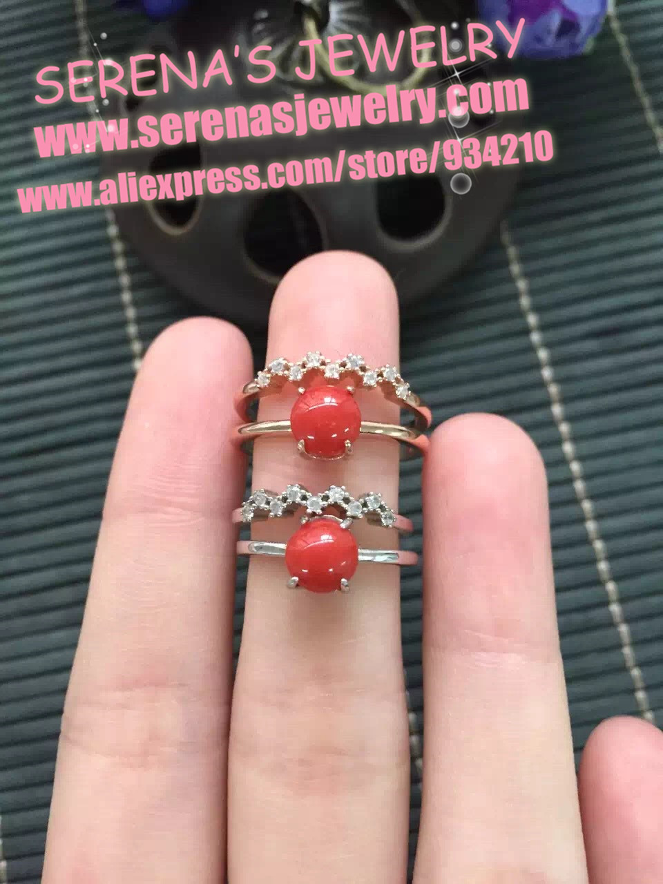 on sale discount girls gift mum birthday present real 925 sterling silver natural red coral ring egg surfce 6.5mm