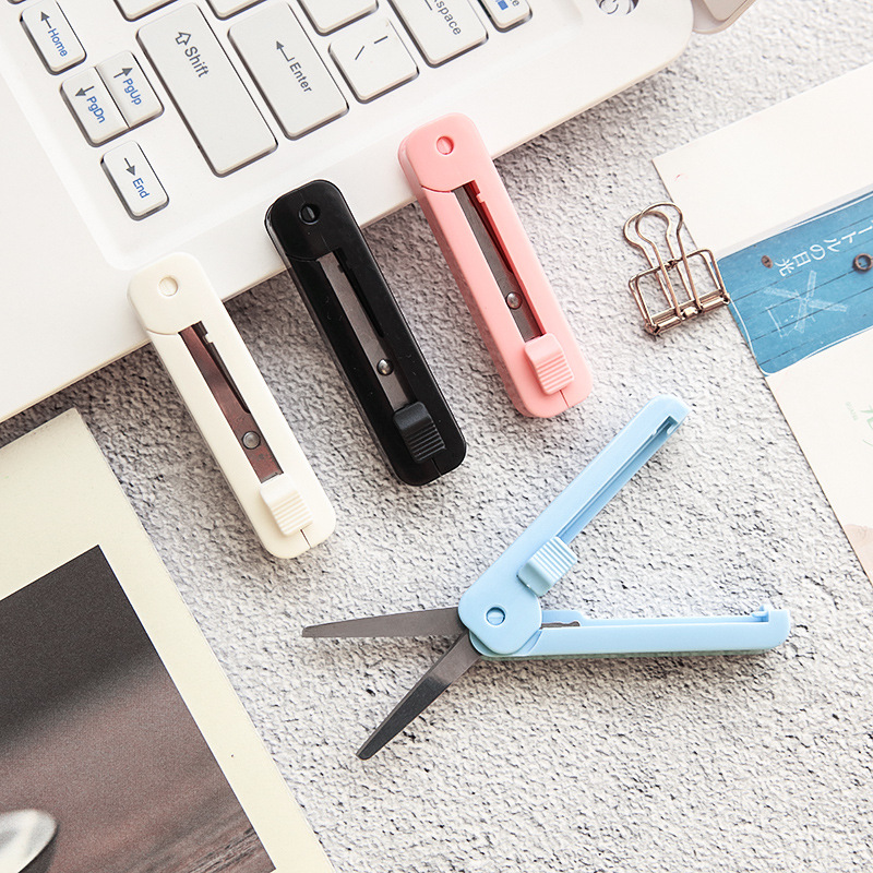 1Pcs Portable Mini Scissors Folding Safety Carry Multifunction Stationery Manual Paper Cutting Art DIY Tool Office Supplies