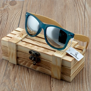 Image 4 - BOBO BIRD Transparent Blue Square Sunglasses Women Bamboo Wood Sun glasses Mirrored Polarized Summer Style in WoodBox BS05
