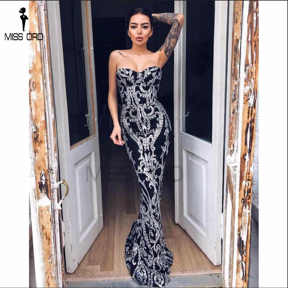 Missord 2017 Sexy New Bra Off Shoulder Retro Geometry Sequin Female Dresses Floor Length Party Elegant