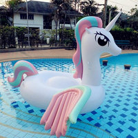 270cm giant inflatable rainbow Unicorn flying horse swimming circle Air Mattress water toys for child adult kids beach party