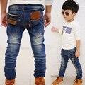 Bebé Niños Casual Jeans con Bolsillo para Invierno Niños Chicos Casuales Jeans Ajustados Pantalones de Los Niños Calientes con/sin velet