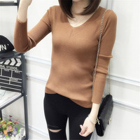 Womens Autumn Winter Cotton Blend Sweater V-Neck Pullovers Long Sleeve Jumpers Womens Knitted Sweaters