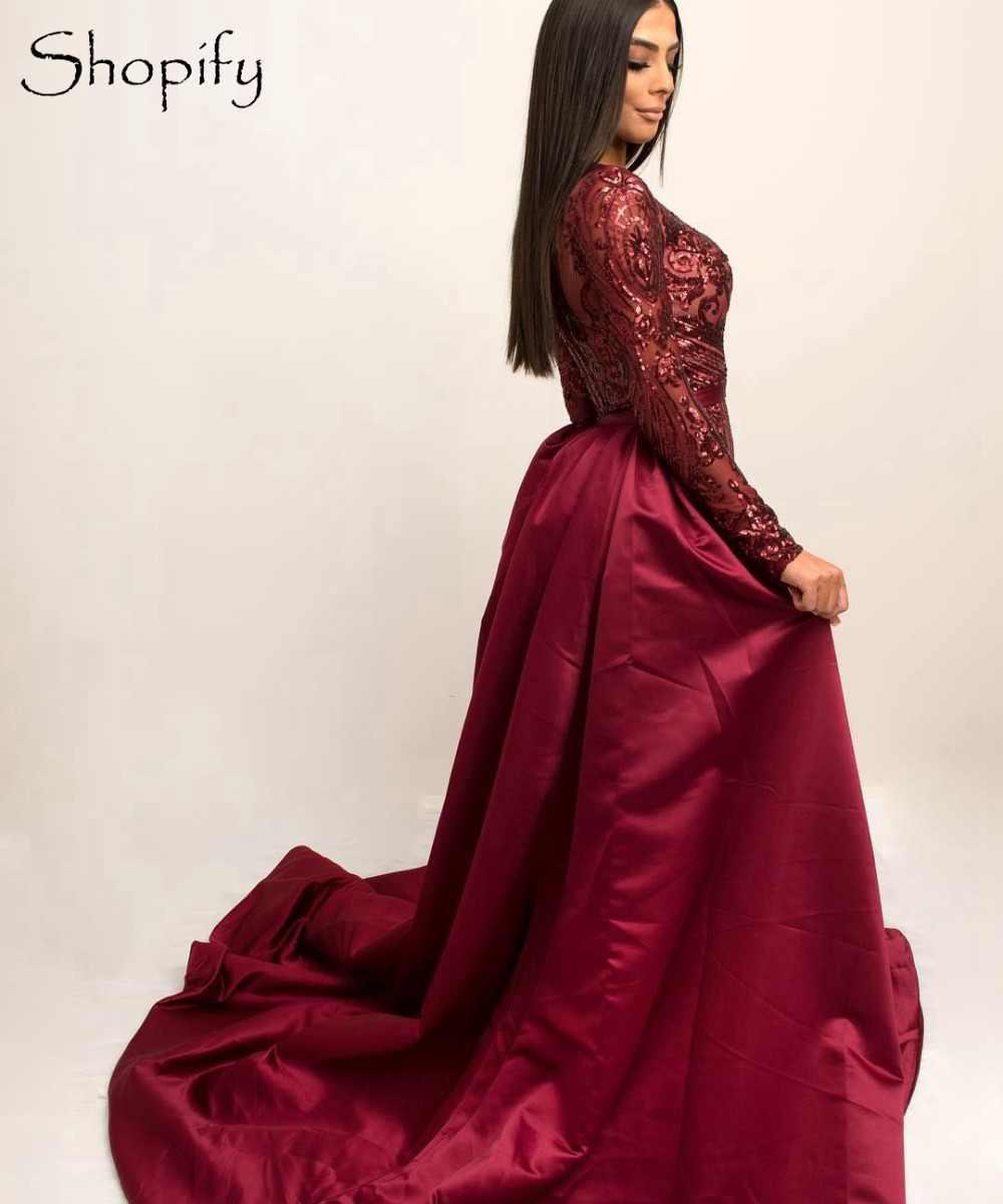46dd46d793d ... Длинные вечерние платья 2019 Великолепная Русалка стиль с длинным  рукавом кружево для женщин бордовый арабский официальный ...