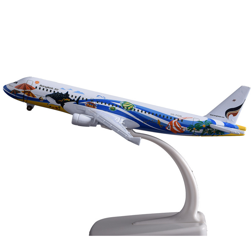 16cm Airbus A320 Bangkok Fish Airline Model Thailand Bangkok Airplane Alloy Aircraft Model Birthday Holiday Gift Travel Souvenir