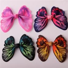 1 шт., Ослепительная Цветная Бабочка без зажима, аксессуар для волос для девочек, бант для самостоятельного изготовления головных уборов, полуфабрикаты, аксессуары для