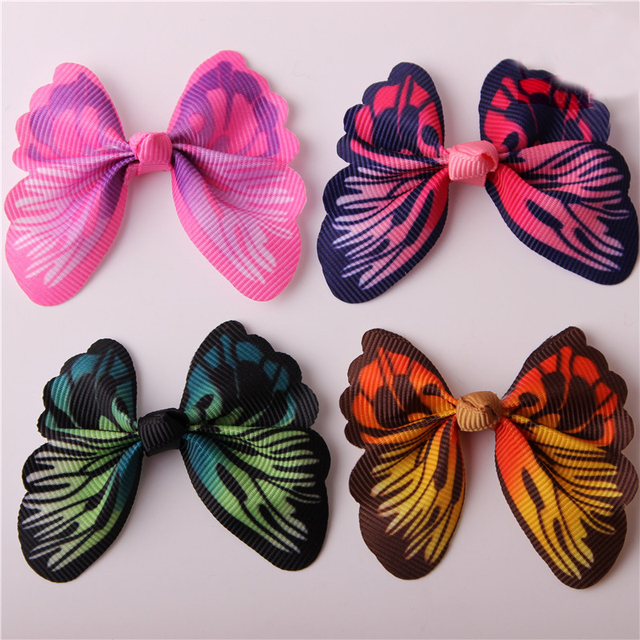 1PCS Dazzling Colorful Butterfly WITHOUT CLIP Girl Hair Accessory Bow For DIY Headdress Semi-finished Products 2017 Accessories