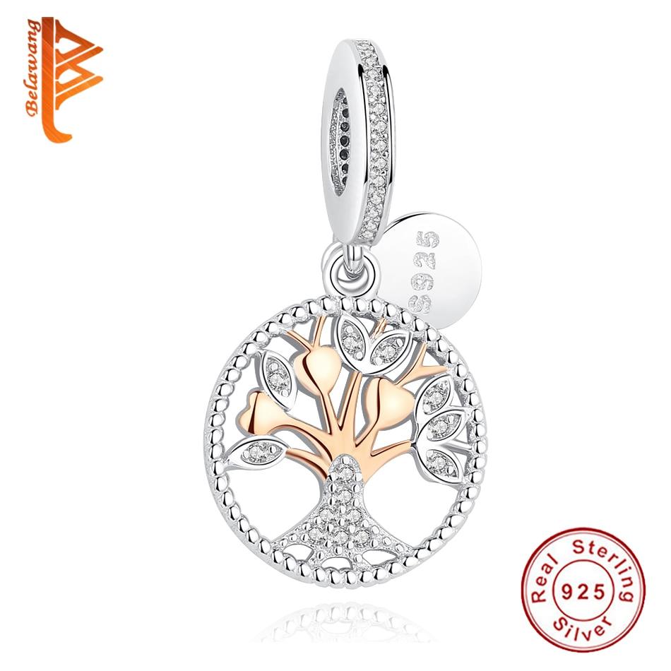 BELAWANG 2016 Weihnachtsgeschenk Gold Familie Baum Silber Baumeln Charms Fit Ursprüngliche BW Armbänder 925 Sterling Silber Schmuck