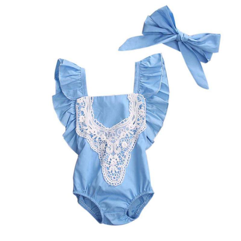 Newborn Toddler Girl Romper Bow-knot Lace Splicing Clothing Jumpsuit+Headband Suit Hello World Cute Girls Cloth Sets Baby ...