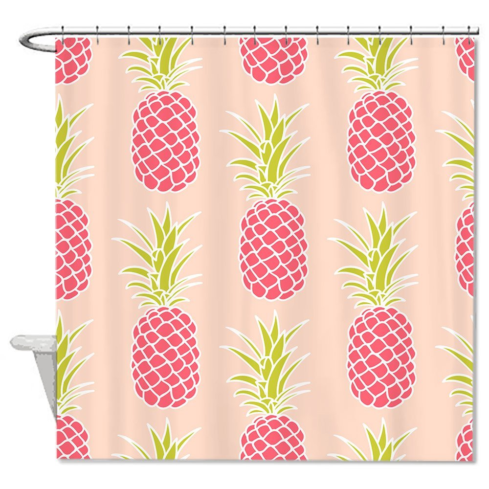 TrUiuiui Sweet Pink Pineapple pattern Polyester Waterproof Shower Curtain Liner Mildew Resitant 72 X 72