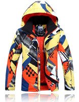 2015 Mens Ski Jacket Yellow Orange Snowboarding Jacket For Men Warm Snow Coat Skiwear Mountaineering Jacket