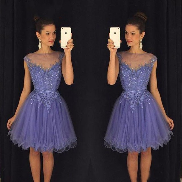A Line Short Appliques Beaded Homecoming Cocktail Dress Party Prom Gowns Graduation Dresses 8th Grade Custom Made