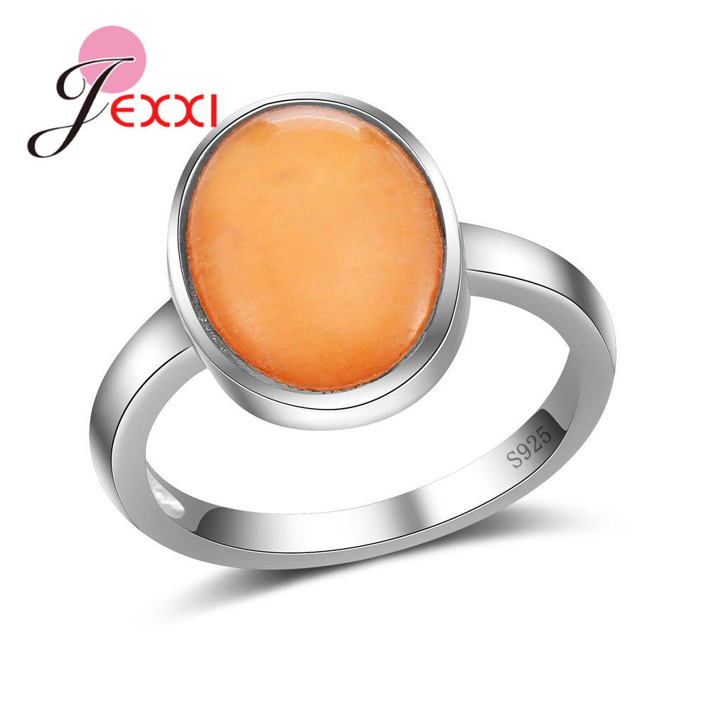 JEXXI Hot Sell Women Rings With Clear Yellow Opal Stone Senior 925 Sterling Silver Accessories For Ladies Wonderful Jewelry Gift