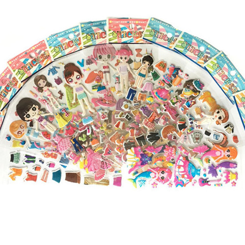 12 Sheets Beautiful Cute Girls Dress Up Stickers Pvc Bubble Kids Early Learning Toys