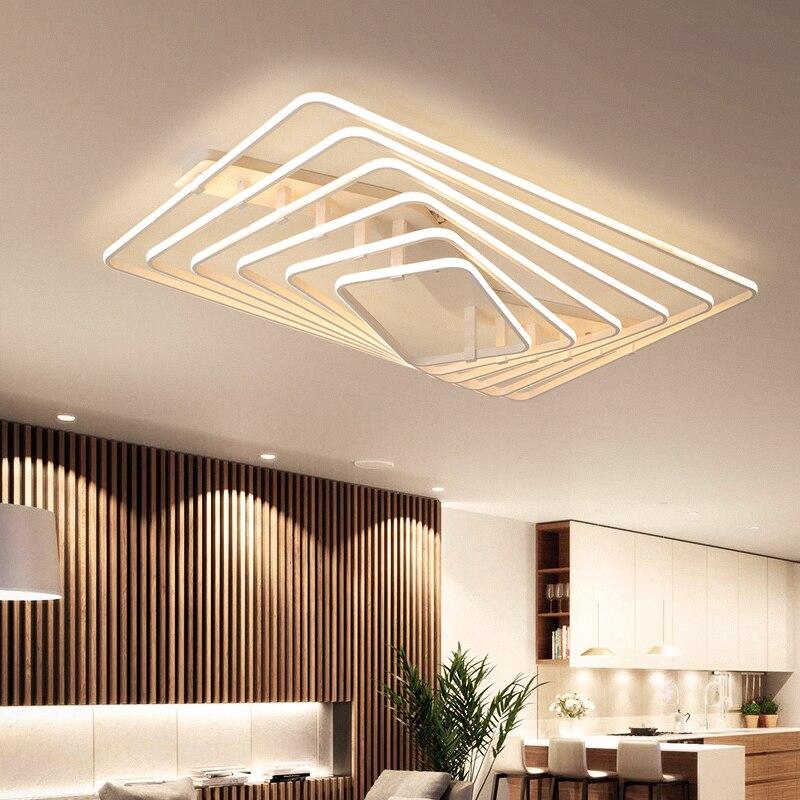 Hot new design Controle Remoto escurecimento Levou Lustre Moderno Para Sala de estar Quarto Luminárias lustre plafon levou Quadrado Branco moderno
