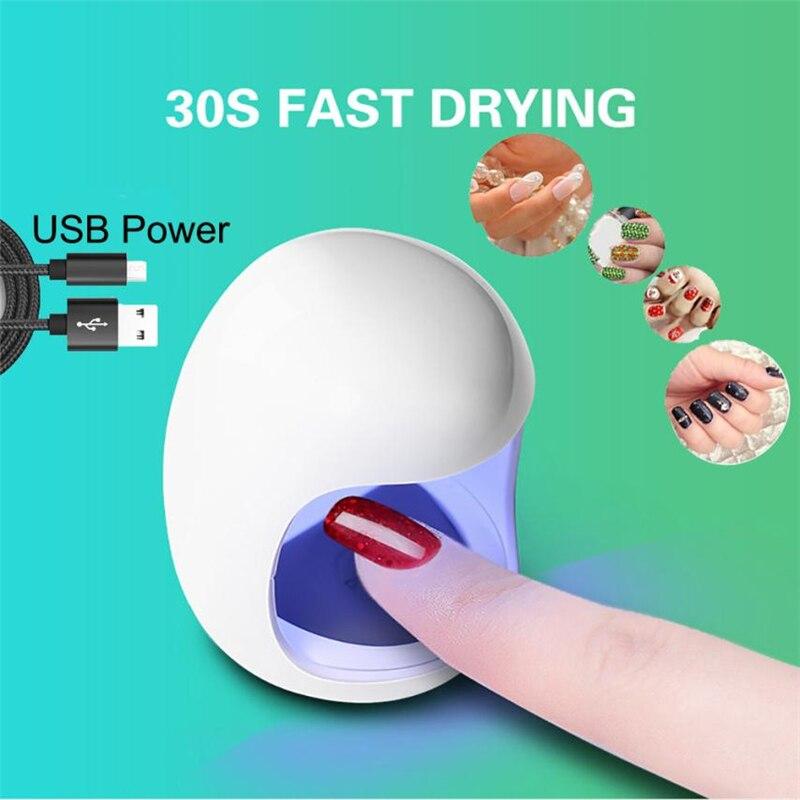 White Mini USB UV Nail Gel Curing Lamp Light Nail Gel Polish Dryer Nail Art Machine