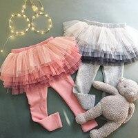 Леггинсы для девочек на весну-осень, юбка для девочек, многослойная юбка-пачка, штаны для маленьких девочек, детские хлопковые брюки для под...