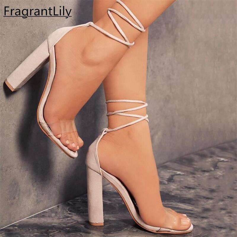 Fragrantlily новые замшевые Сандалии на каблуке Для женщин Кружево до прозрачная обувь летние Ремешок на щиколотке Высокие каблуки женские толстые открытые туфли 34-43