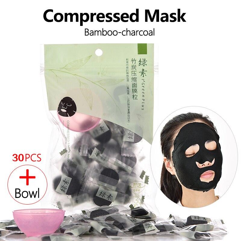 30pcs Compressed Mask Bamboo Charcoal Disposable Facial Masks Papers Natural Skin Care Masks DIY Women Makeup Beauty Tool