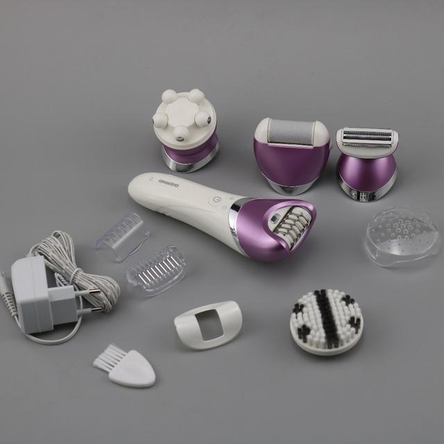 5in1 waterproof electric women epilator female trimming remover facial hair removal kit callus foot shaver bikini depilatory