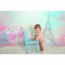 MEHOFOTO Vinyl Photography Background Newborn Dancing Eiffel Tower  Computed Printed Children Backdrops for Photo Studio ZH-24