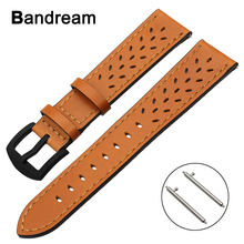 20mm 22mm Trefoil Genuine Leather Watchband for Casio Seiko Citizen Armani Timex