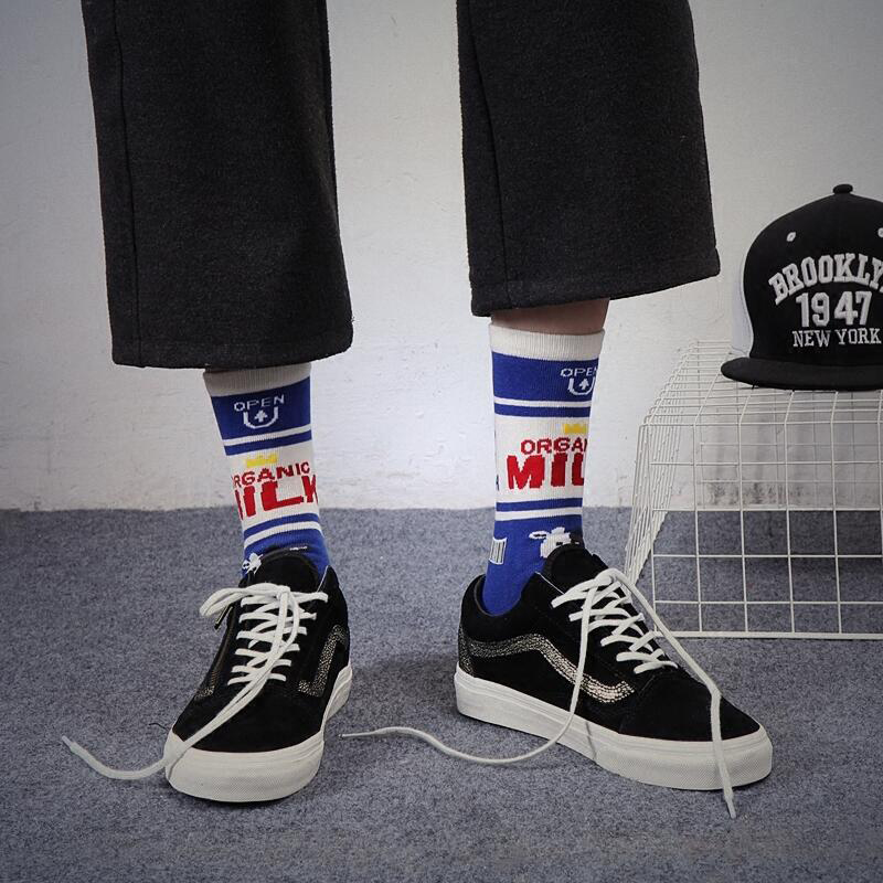 Autumn Ins Style Fashion Letter Patterned Short Socks Cool Mens Harajuku Skateboard Socks Low Hipster Cotton Art Socks Male Sox