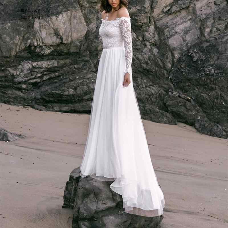 Vestidos De Noiva Fora Do Ombro Sexy Barato Do Vestido de Casamento Com Mangas Compridas Vestidos de Casamento Da Praia Do Laço 2019 Novas Vestes Mariage china