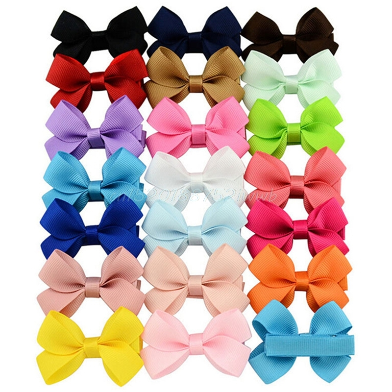 20Pcs Cute Hair Bows Boutique Alligator Clip Grosgrain Ribbon For Girl Baby Kids #T026# 7 fashion boutique grosgrain ribbon organza breast cancer printed cheer bow with elastic hair bands for cheerleading girls