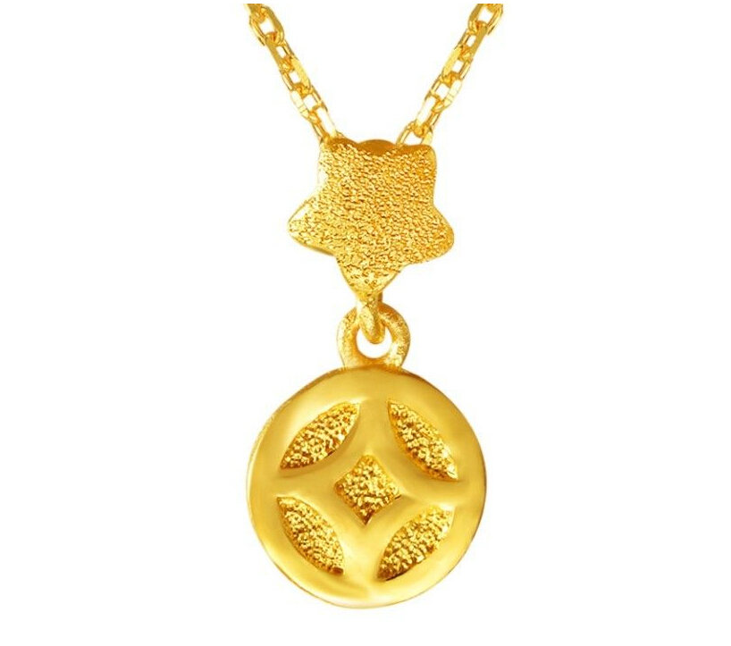 Authentic 24K Yellow Gold Pendant Lucky Star Money Coin Pendant / 1.77g pudcoco baby girls dress toddler girls backless lace bow princess dresses tutu party wedding birthday dress for girls easter