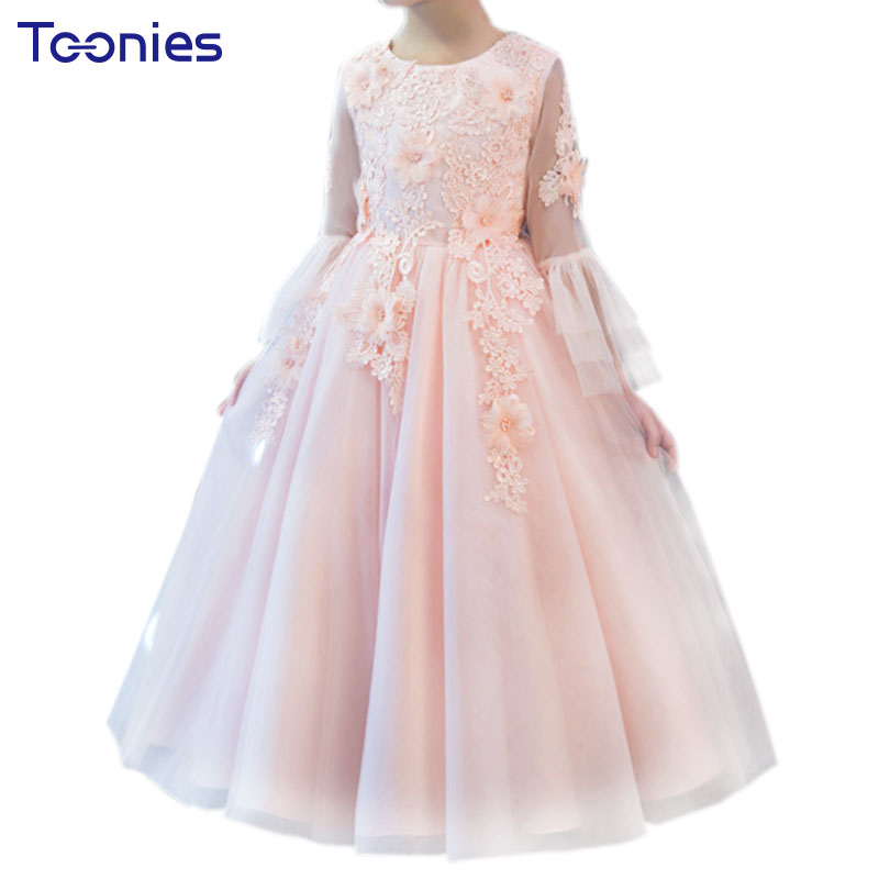 Flower Embroidery Christening Dress Princess Girl Tutu Dresses Lace Children Clothing Birthday Party Puffy Wedding Girls Clothes 2017 new european fashion embroidery flower girls dress wedding pageant summer children princess birthday party lace dresses
