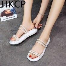HKCP Fashion women Sandals female 2019 summer new wear Korean casual students a word dual-use beach sandals C321