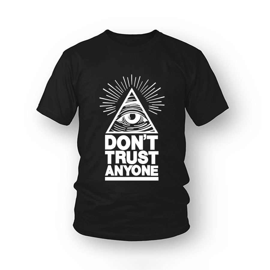 Illuminati Футболка Модный бренд Dont Trust Anyone Graphic Tee Письмо печати для мужчин повседневная забавная эстетическая
