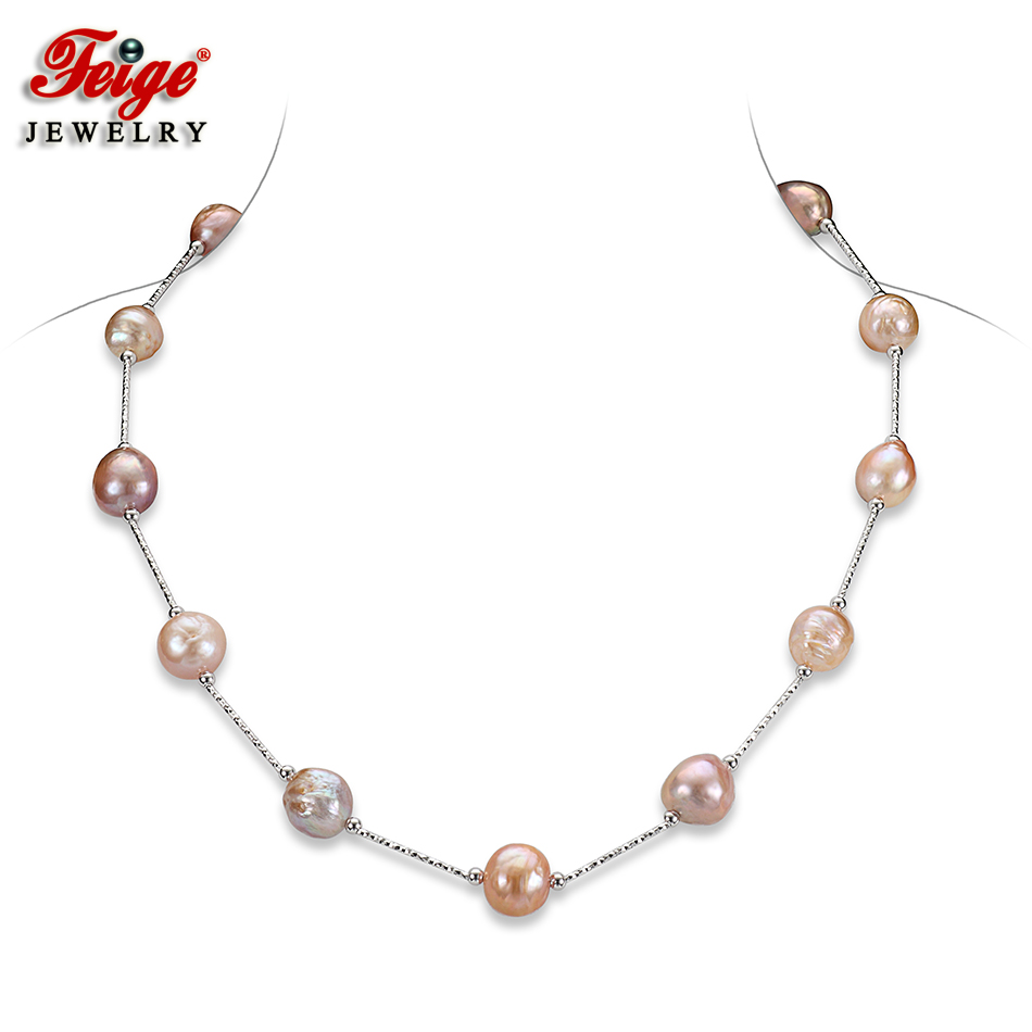 FEIGE Original Design Luxury Jewelry Pearl Necklace 11-13MM Multicolor Baroque Pearls Chain Necklace for Women Fine Jewelry Gift free shipping imitation pearls chain flatback resin material half pearls chain many styles to choose one roll per lot